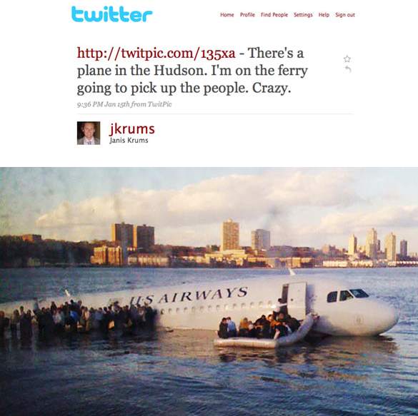 제니스 크럼스가 트위터로 등록한 허드슨 강 비상착륙 항공기 이미지와 해당 트윗