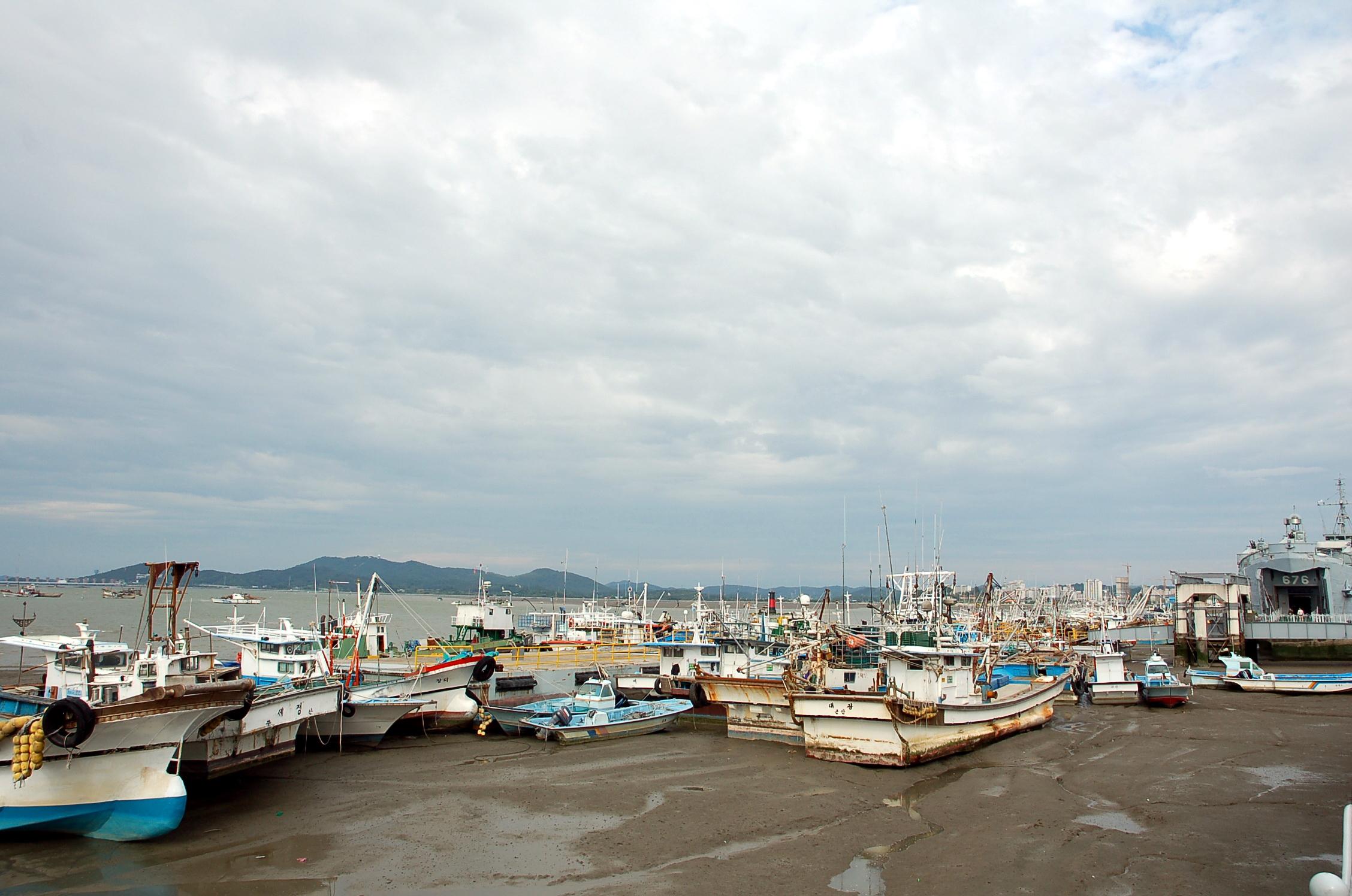 군산진포해양공원, 해양 공원 앞 항구 모습